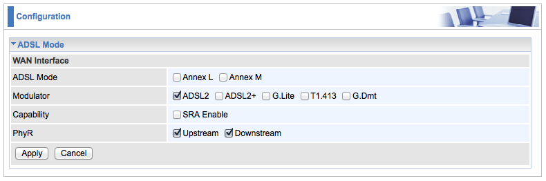 ADSL mode in Advanced Configuration in Billion 7800N