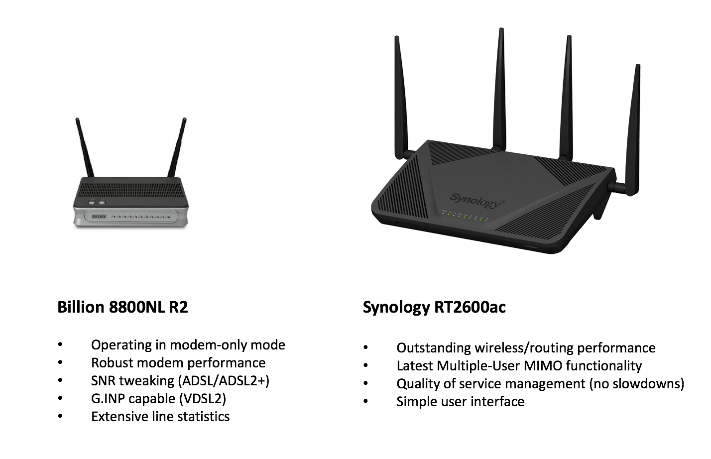 Recommended routers
