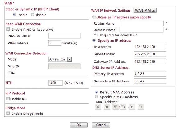 WAN configuration for the DrayTek router
