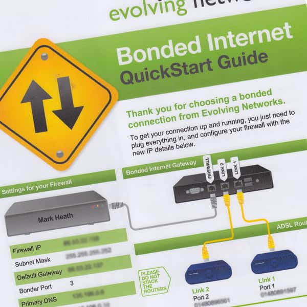Set up guide for Evolving Networks bonded ADSL service