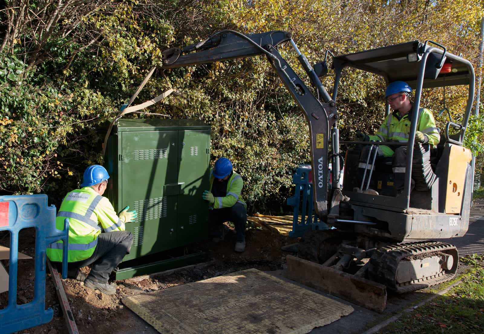 Fibre broadband cabinet being installed