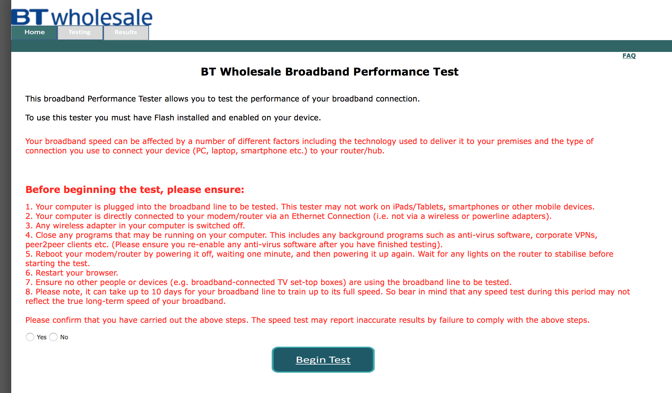 BT Wholesale Broadband Performance Test