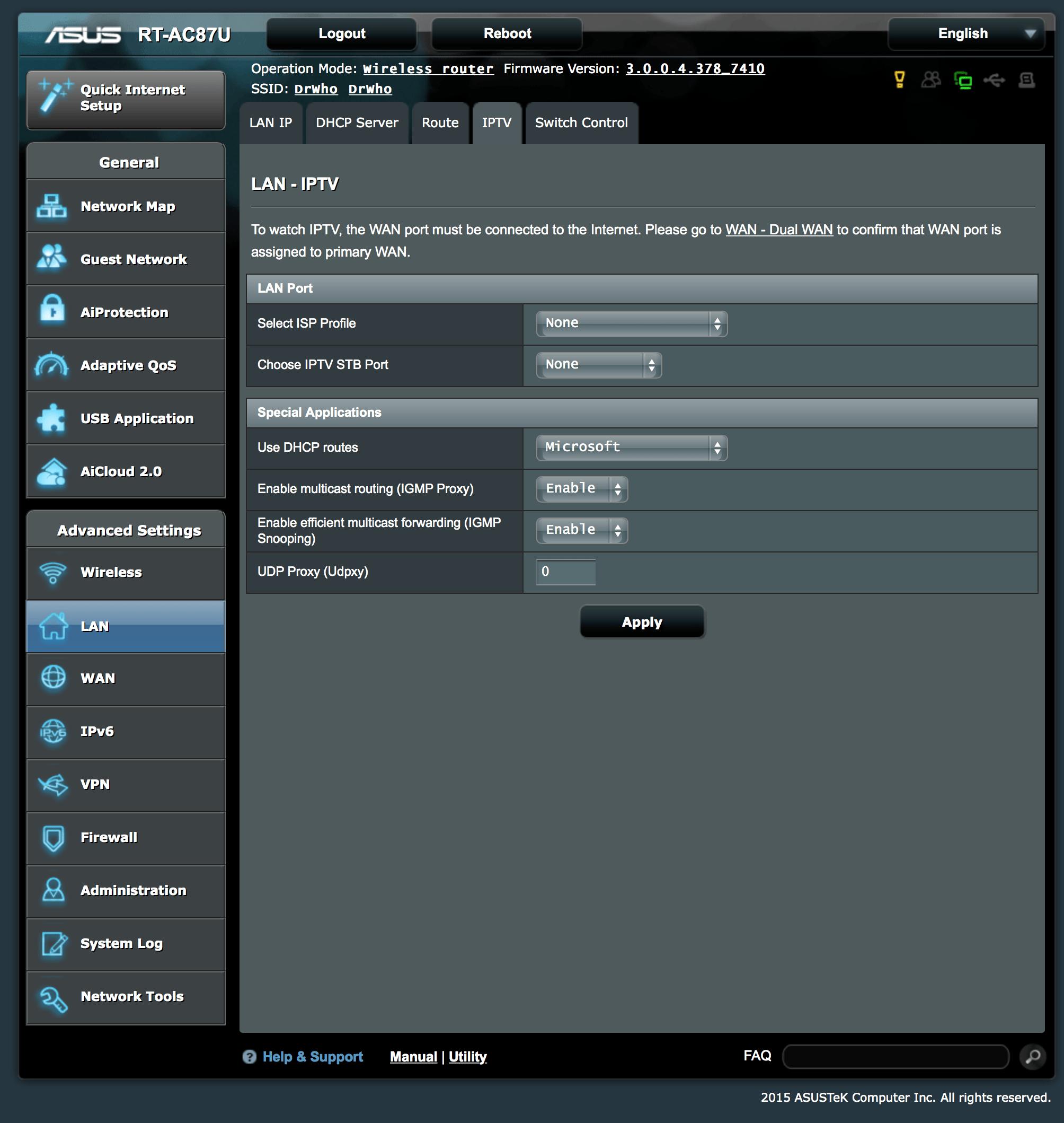 BT IP TV settings for Asus RT-AC87U