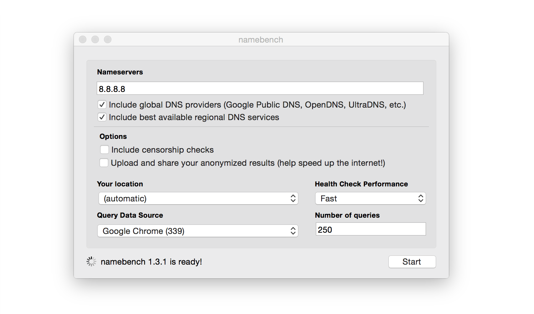Namebench utility
