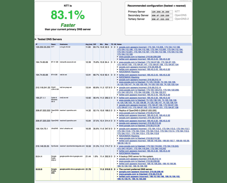 Namebench screenshot