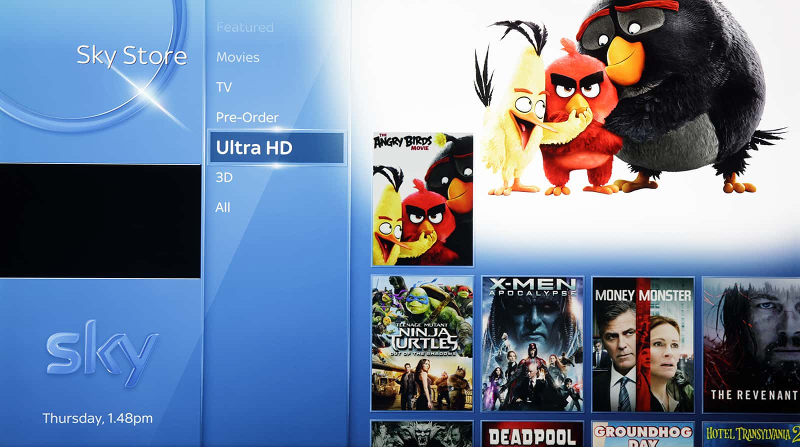 Sky Store ultra HD movies