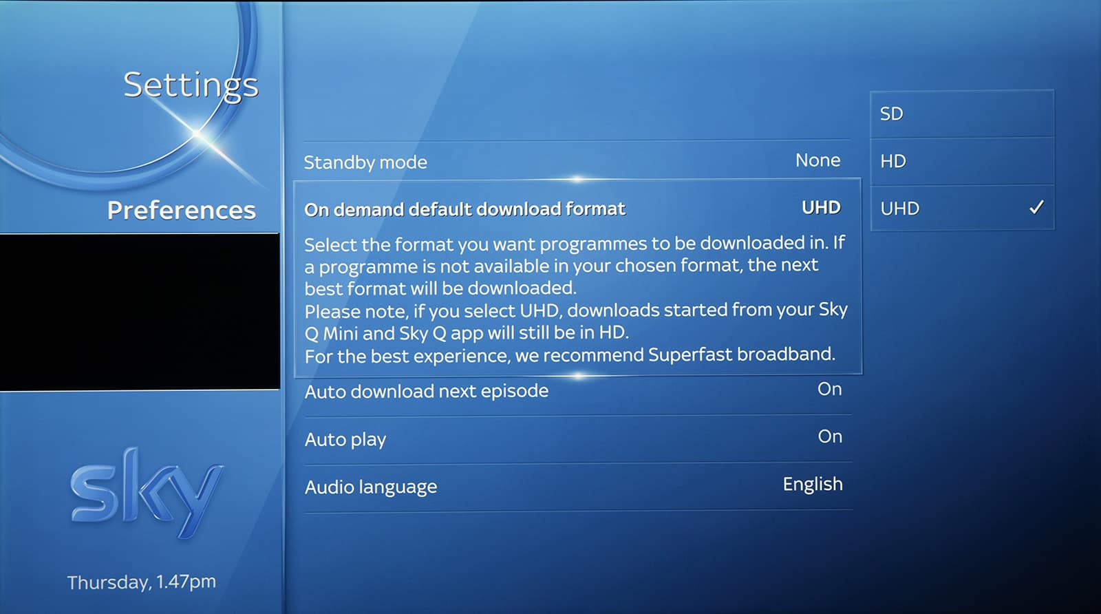 On demand default download for Sky