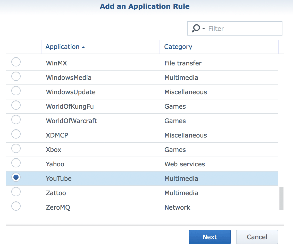 Defining application rules on the Synology RT2600ac