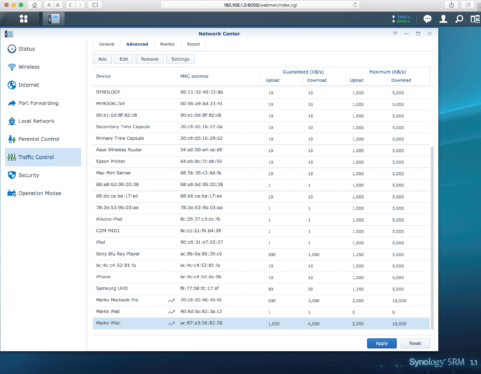 Traffic management for the Synology RT2600ac