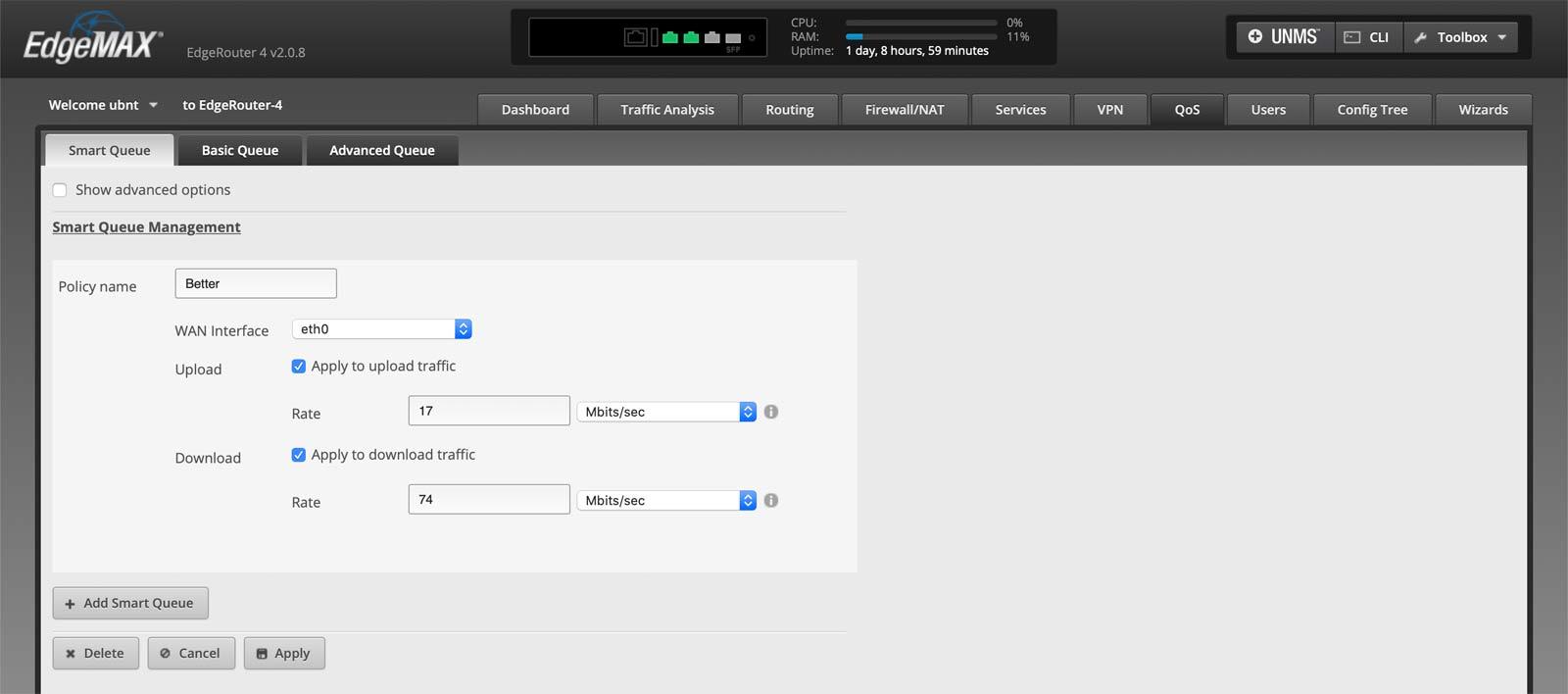 Screenshot of edgemax router