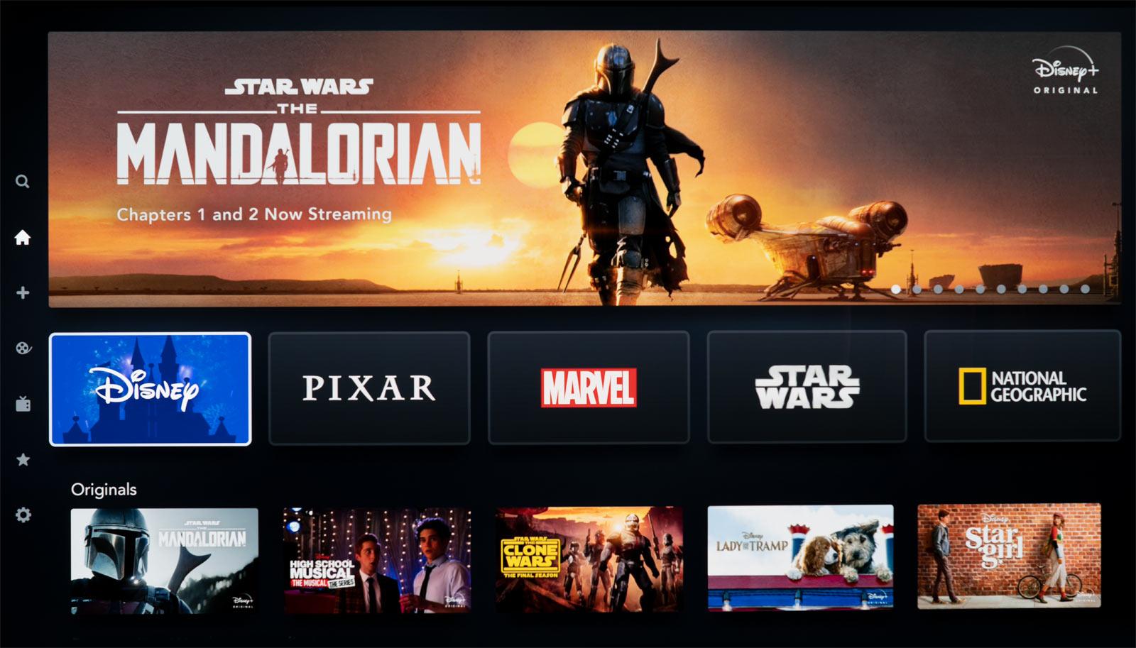 Screen shot of Disney Plus