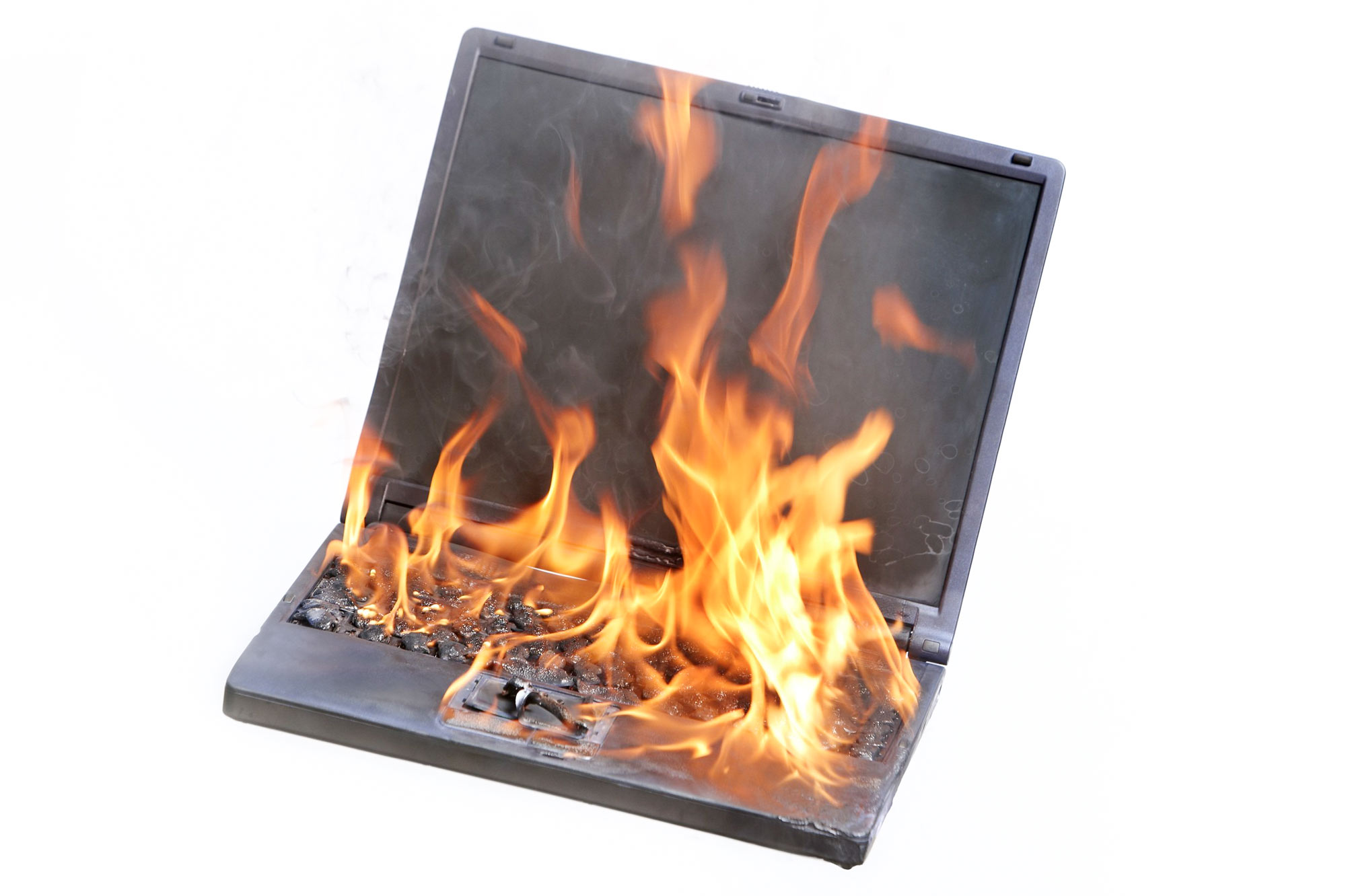 Computer on fire