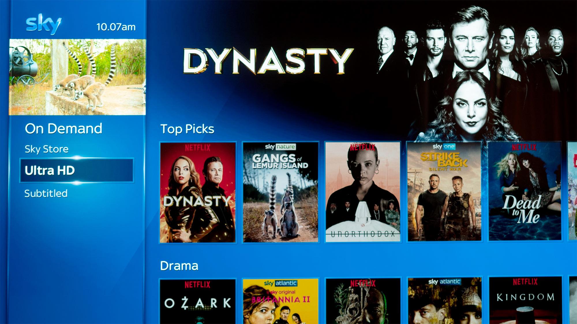 Screenshot of Sky menu