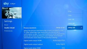 Settings on sky Q box for HDR
