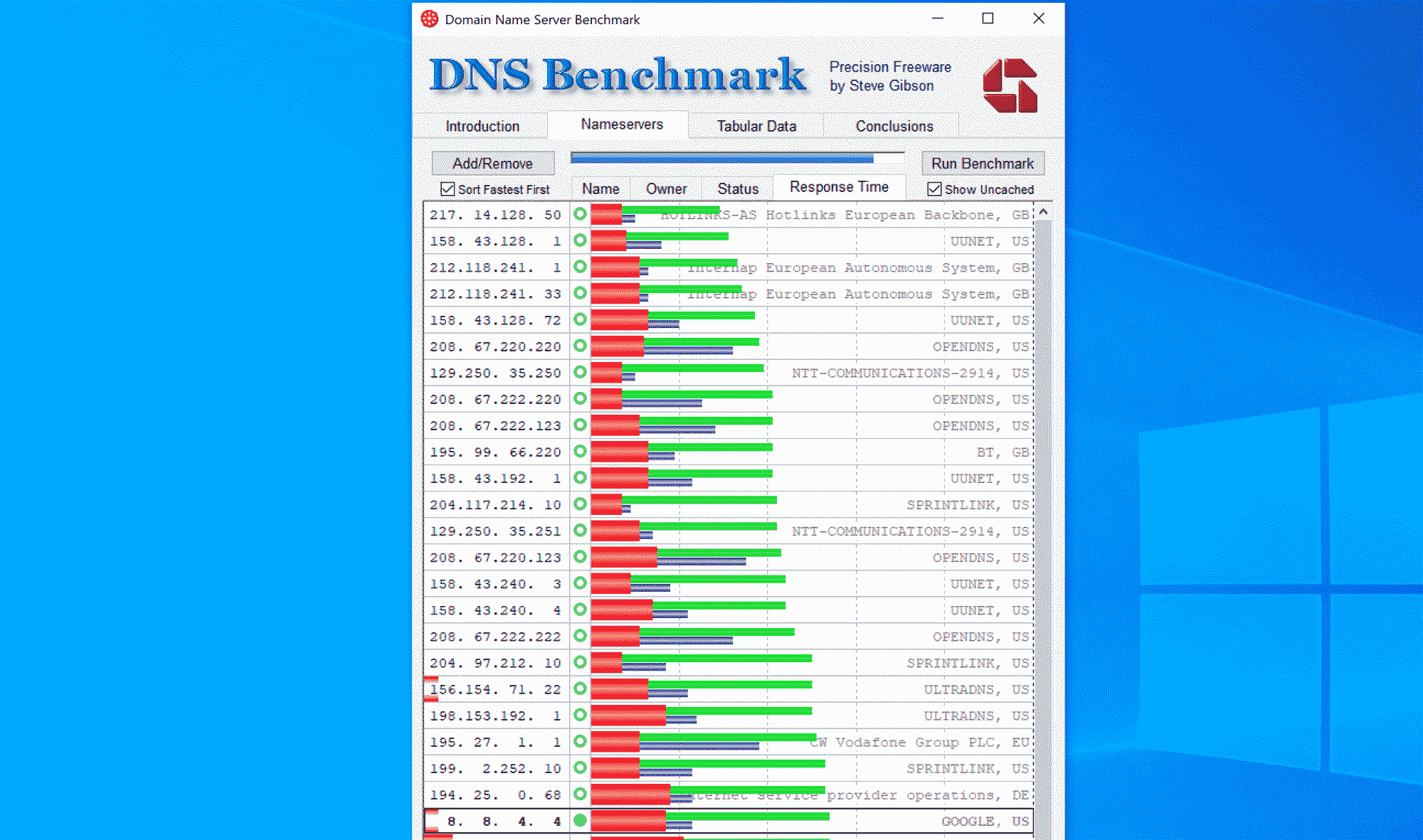 Screenshot DNS benchmark