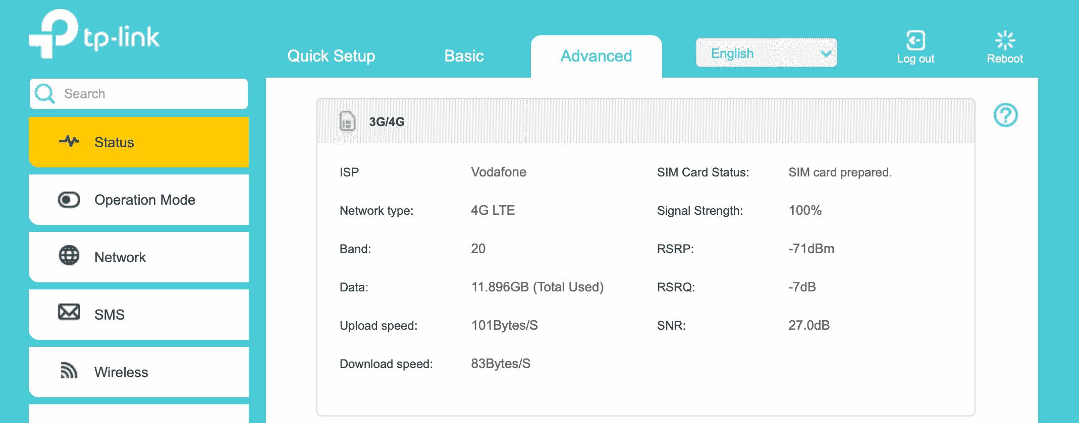 4G router screenshot