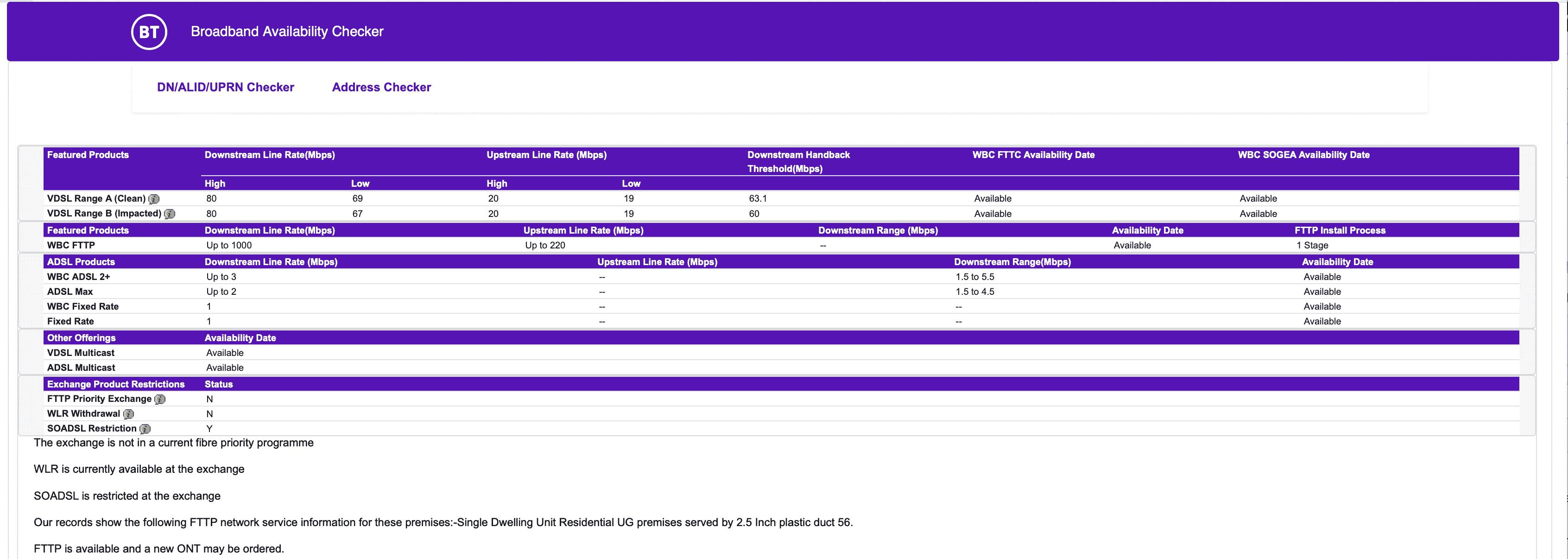 BT checker screenshot